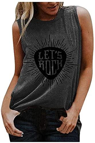 DCVZTEA Camiseta sin mangas para mujer, diseño de chaleco gráfico de la letra de la impresión de la blusa sin mangas de cuello redondo