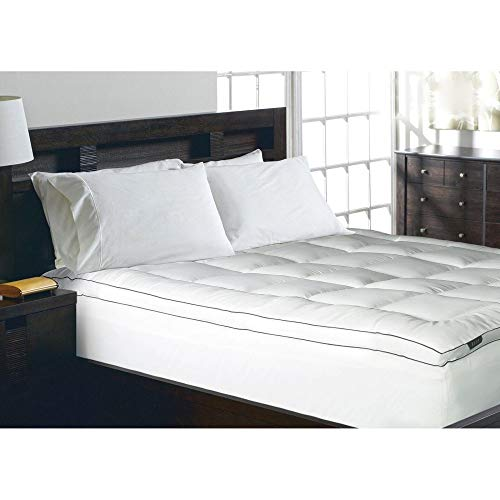 Blue Ridge Home Fashions Elle 1200 Thread Count Cotton-Rich Solid Mattress Pad, King, White