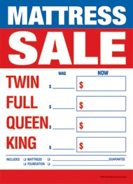 Retail Merchandising Signs LLC T50MAS Furniture Mattress Sale Twin-Full-Queen-King - Slotted Sale Tags - 5' x 7' (100 Pack)