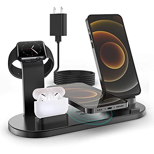 4 in 1 Wireless Charging Station, Compatible for AirPods/iPhone/iWatch Series, Qi Fast Wireless Charger Stand Dock for iPhone 12 11/11 Pro Max/X/XR/XS/ 8/8P