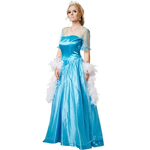 dressforfun Frauenkostüm Eisprinzessin | Seidig glänzendes Einteiler-Kleid mit Überrock aus edlem Organza (XXL | no. 301892)
