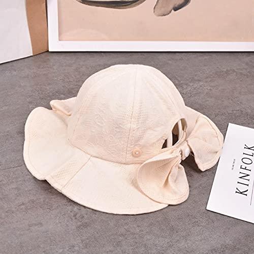 Lindo Sombrero de Cubo de Verano para niña, Lazo alAire Libre,Sombreropara el Sol para niñas y niños, Gorra de Playa para niños pequeños-style4 Beige