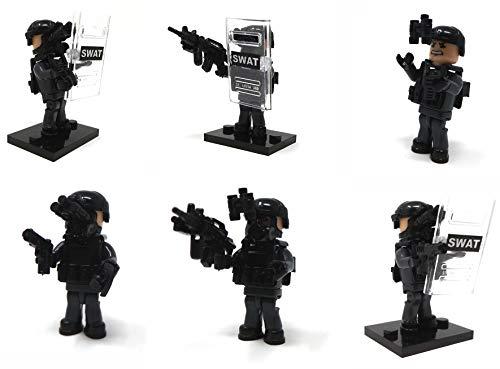 Modbrix 6 x SEK Polizei SWAT Minifiguren Spezialeinheit Soldaten Figuren inkl. Bewaffnung