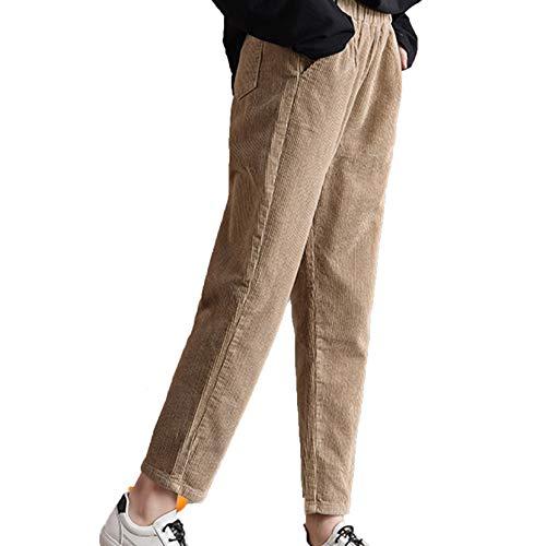 GenericBrands Pantaloni Casual in Velluto a Coste da Donna Autunno Inverno Pantaloni Caldi Dritti Larghi e Larghi