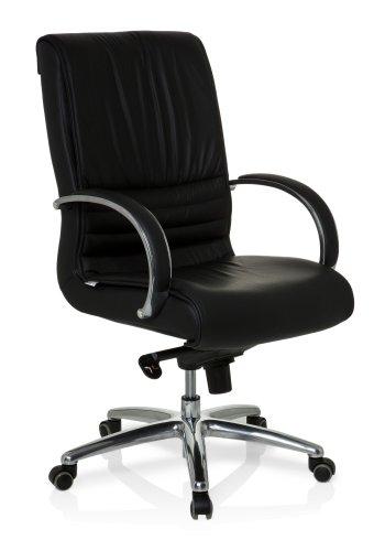 hjh OFFICE Bürostuhl/Chefsessel XXL F 200 Echtleder, Bürostuhl bis 150 kg, schwarz