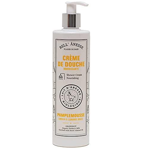 Label Provence - Crema de ducha francesa con leche de burro orgánica y aceite de almendras dulces, fragancia de pomelo, botella de 400 ml
