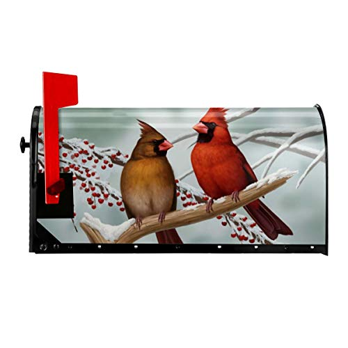 Luora Welcome Mailbox Covers Magnetic Cardinal Birds Patriotic Post Box Cover Wrapped Oversize 21 x 18 Inch for Garden Yard Decor