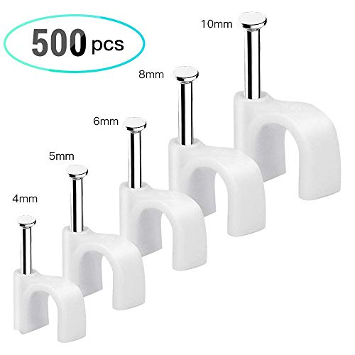 AGPTEK 500pcs Cable Clips with Steel Nails 4mm 5mm 6mm 8mm 10mm Cable Management for RG6, RG59, CAT6, RJ45 Cable Coax Cable, Ethernet Cable, TV Wire Cable, Telephone Cable, Led Starlight, Print Cable