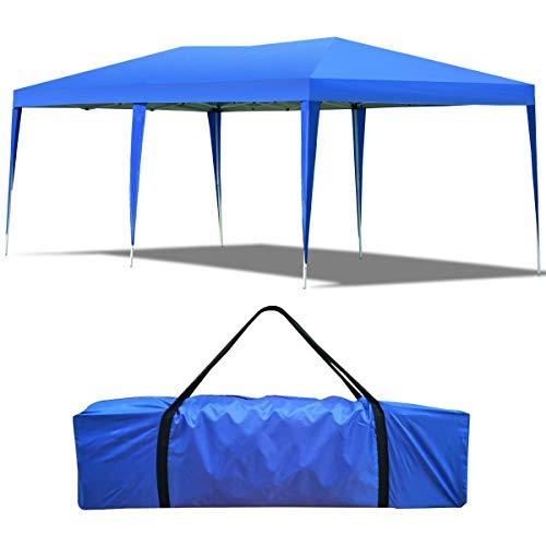 Gazebo da Giardino Pieghevole 3 X 6 m Tenda Padiglione da Giardino per Campeggio (Blu)
