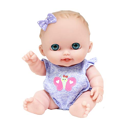 JC Toys Lil Cutesies 8.5' All Vinyl Baby Doll | Posable and Washable | Removable Outfit | Lulu- Blue Eyes Ages 2+