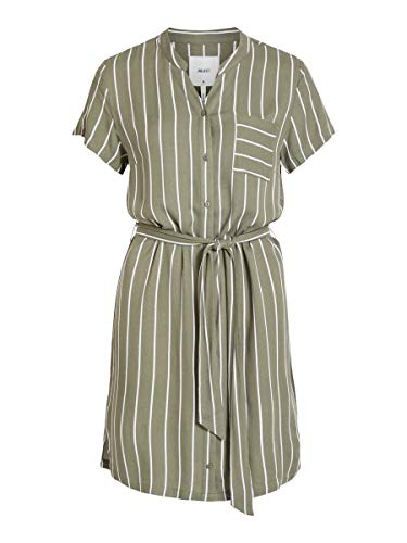 Object Damen Blusenkleid Gemustertes Bindegürtel 42Burnt Olive 1