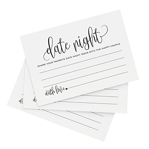 Bliss Collections Date Night Ideas Cards, for Bridal Shower, Married Couples, Bride and Groom, Pack of 50, 4x6 Cards