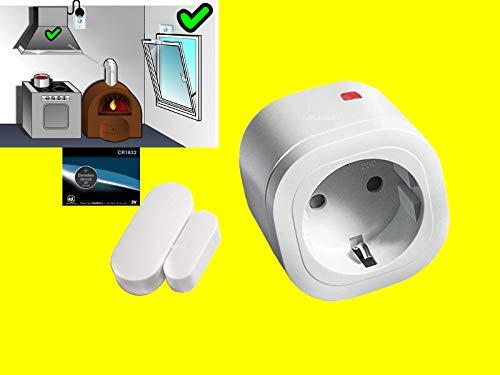 Mini FUNK-Abluftsteuerung-SET | Intertechno Dunstabzugshauben-Steuerung | Power-Zwischenstecker 3000W + Mini-Fensterkontaktschalter mit optionaler Zeit-Abschaltung 1/5/10 min.+1x CR1632 Ersatzbatterie