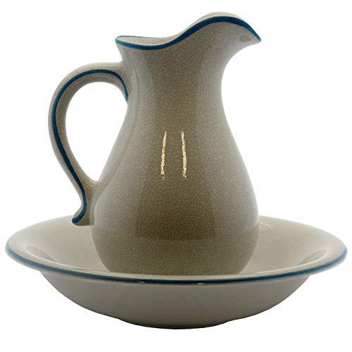 DONREGALOWEB Jarra con palangana de cerámica Acabado craquéele en Color Blanco