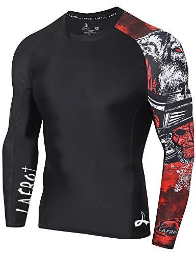 Lafroi - Camiseta térmica de licra, de compresión, para hombre, de manga larga, con protección UPF 50+, ajustada, modelo CLYYB, Hombre, GB-CLYYB_Bt-C-Asym Warrior-XXL, Guerrero asimétrico, XXL