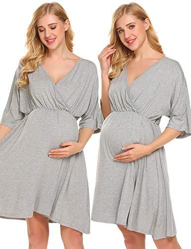 Ekouaer Women's Maternity Knee Length Sleep Dress Hospital Nightgown Nursing Sleepwear,Flower Grey,XX-Large