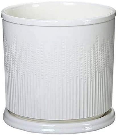 Vaso da fiori in ceramica bianca per ufficio con vasetto cilindrico per piante con vaso, 3 stili e 3 misure a scelta tra fioriera con vaso di drenaggio (colore 3, dimensioni: XL