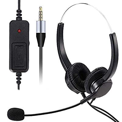 3.5mm Jack Wired Bilateral Headphone, HUET Cell Phone Headset with Noise Cancelling Mic, Compatible for Skype PC Mobile Phone and Most Smartphones, Call Center Office, Clear Chat, Ultra Comfort from HUET