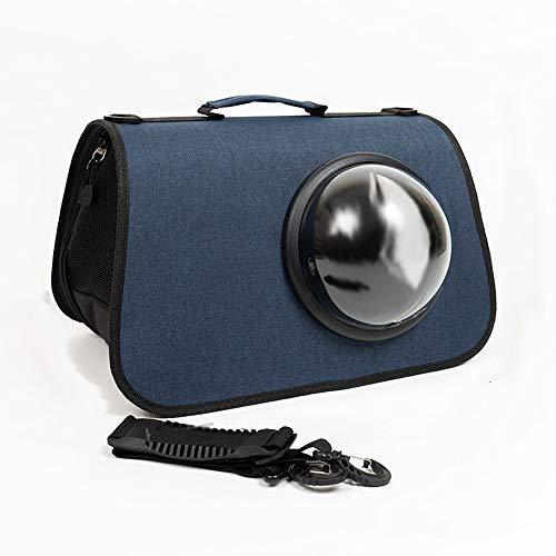 WMLWML Dog Cat Carrier Portable Pet Bag Travel Shoulder Bag Space Capsule Pet Handbag For Small Dogs (Color : Navy blue)