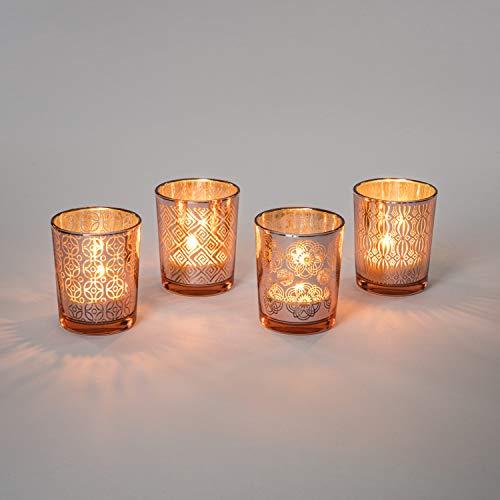 Teelicht-Gläser Set aus Glas inkl. Teelichter - Kleine edle Teelicht Kerzen-Halter mit Verzierungen - Windlichter Kerzenglas - Geschenk Dekoration für Hochzeit, Geburtstag, Weihnachten (Rot 4er Set)