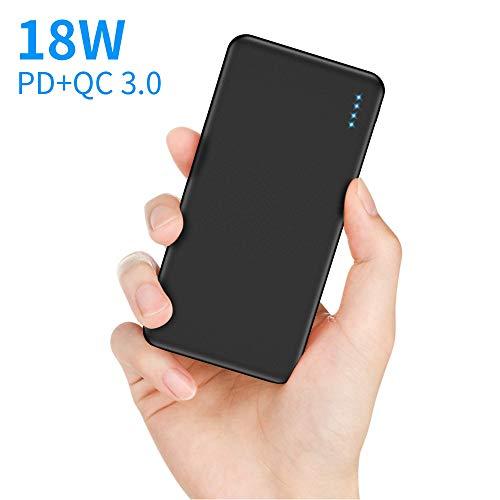【Neueste】 Powerbank 10000mAh USB C Externer Akku mit QC3.0 & PD 18W Schnellladung Tragbares Ladegerät mit 4 LEDs 2 Ausgänge & 2 Eingänge Power Bank für iPhone Huawei Samsung iPad und mehr Smartphones