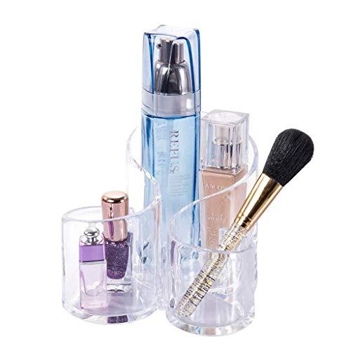 Partition cylindrique de rangement cosmétique d'organisateurs clairs de stockage de brosse de maquillage cosmétique (couleur: clair, taille: 14.3 * 15 * 12cm)