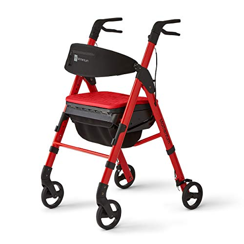 Medline - MDS86870R Momentum Rollator Walker with Seat Cushion, Premium Folding Rolling Walker, Preassembled, 6 inch Wheels, Supports up to 250 lbs, Red
