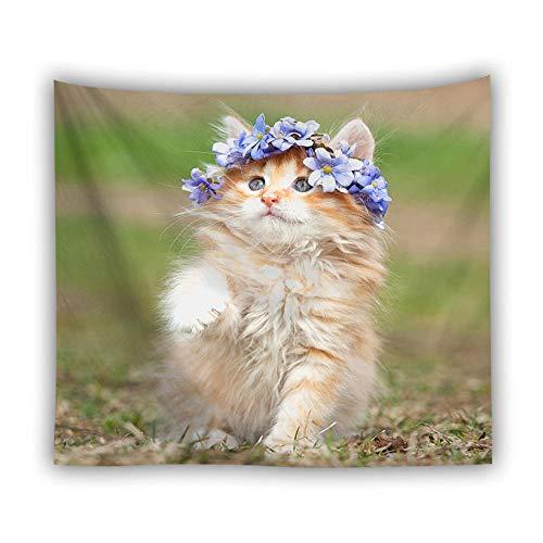 XIAOBAOZIGT Tapestry Wall Hanging, 3D Art Groot Wandtapijt Psychedelic Boheemse Hippie dier kat draagt paarse slinger hangende doek Gt726267 - Tapijt voor slaapkamer woonkamer strand kussen 130×150cm