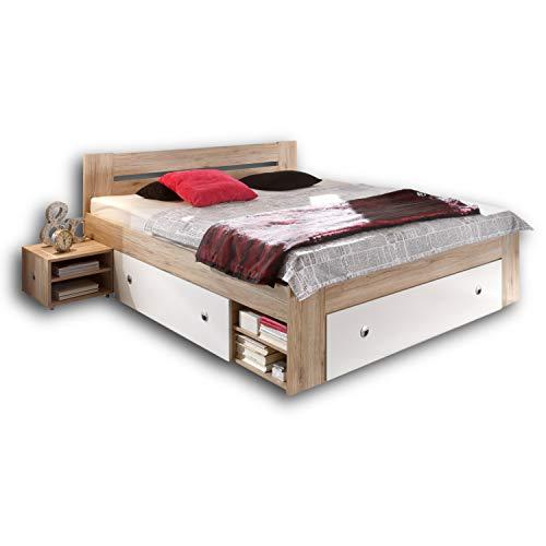 Stella Trading STEFAN Doppelbett Bettanlage 180 x 200 cm mit 2x Nachtkommoden - Schlafzimmer Komplett-Set in Eiche San Remo Optik, weiß - 185 x 86 x 204 cm (B/H/T)