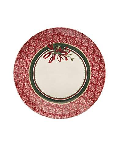 Brandani 52355 - Plato de porcelana (borde de hojas), diámetro de 30,5 cm, color rojo, decoración navideña