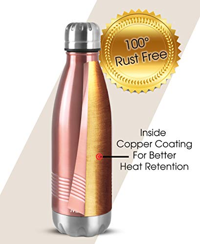Milton Duo DLX 350 Thermosteel 24 Hours Hot and Cold Water Bottle, 350 ml, Rose Gold