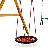 Gorilla Playsets 04-0029-BK/R Extra Large Orbit Swing, Red Netting, Black Nylon Ropes, Weight Capacity - 220 lbs