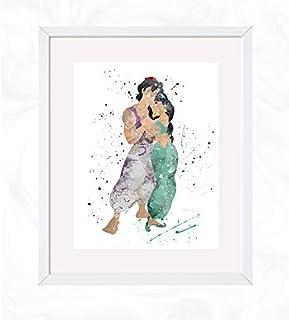 watercolor painting aladdin decorations Aladdin painting aladdin prints alladin Disney Baby Jasmine and rajah poster
