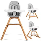 BABY JOY 4 in 1 High Chair, Baby Eat & Grow Convertible Wooden High Chair/Rocking Chair/Booster Seat/Toddler Chair, Infant Dining Chairs w/Double Removable Tray, 5-Point Seat Belt & PU Cushion, Gray