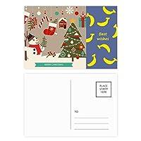 クリスマスツリーの手袋雪だるま祭り バナナのポストカードセットサンクスカード郵送側20個