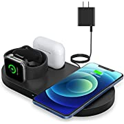 Wireless Charger, Fast Charging Pad Compatible for iPhone 12/12 mini/12 Pro/11/11 Pro Max/XS Max/XR/X /8 Plus/SE, Wireless Charging Station Dock for iWatch 5/4/3/2/se, AirPods 1/2 /Pro (with Adapter)
