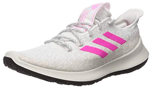 adidas Women's SenseBOUNCE + Running Shoe, White/Shock Pink/Grey, 11 M US