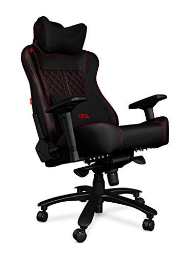 YUMISU Sedia da Gioco 2052 Gaming Chair - Nero/Rosso - Alluminio Massiccio e Migliorato, Costruzione con meccanismo Ergomultiblock. Schienale e Seduta Molto Morbidi per Il Comfort. Ruote gommate!