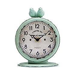 NIKKY HOME Farmhouse Table Clock, Vintage Shabby Chic Pewter Round Quartz Shelf Desk Clock with 2 Birds, 4.75 x 2.5 x 6.12, Light Green