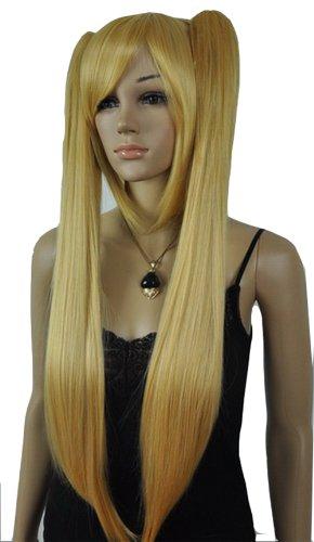 Qiyun Longue Court Raide Blond Two Clip-On Ponytails Costume Complete Cheveux Perruque