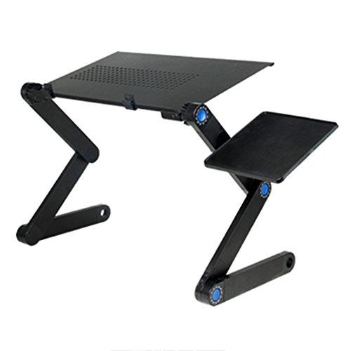 LVZAIXI Ordinateur portable pliable, portable ordinateur portable bureau pliant PC bureau lit canapé Ordinateur portable pliant ordinateur portable table avec plateforme souris et barre anti-dérapante