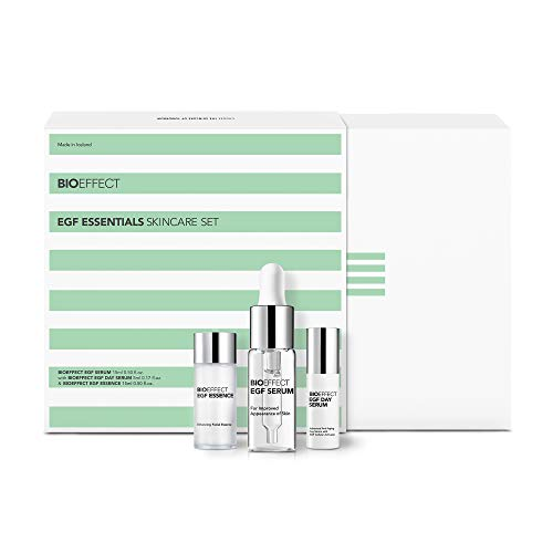 BIOEFFECT EGF Essentials Facial Skincare Gift Set of EGF Serum, Free Deluxe Essence and Day Serum, Anti-aging, Moisturizing, Visibly Firming Treatments for Face featuring Barley Growth Factor