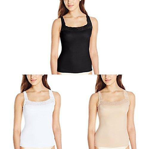 VASSARETTE womens Vassarette Microfiber 17072 camisoles lingerie, Black Sable/White Ice/Vass Latte, XX-Large US