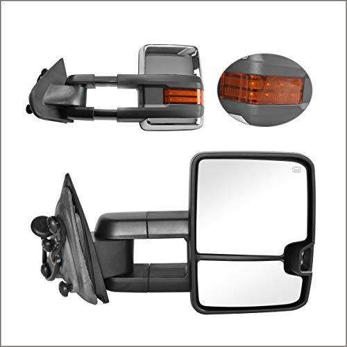 Perfit Zone Towing Mirrors Replacement Fit 2014-2017 for SILVERADO SIERRA, POWER HEATED,W/AMBER SIGNAL,CHROME (PAIR SET)