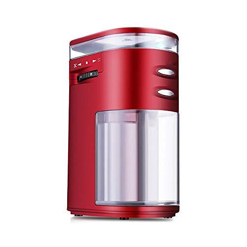 RLIRLI koffiemolen, elektrische koffiemolen, koffiebonen, graanmolen met conisch keramische mes, 5-traps instelling, met grote korreldoos (rood)