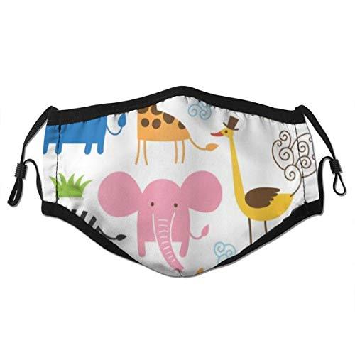 VAMIX Tier Giraffe Elefant Zebra Schildkröte Kinder Kinderzimmer Baby Themen Cartoon Comic Staubwaschbarer wiederverwendbarer Filter und wiederverwendbarer Mund Warmes winddichtes Baumwollgesicht
