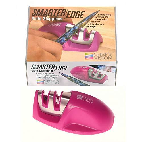 Smarter Edge Kitchen Knife Sharpener by Chef#039s Vision  Pink VShape 2 Stage Sharpener  Knives Honer Tool  Color Handheld Knives Sharpener  Best Selling Knife Sharpening  Afiladores de Cuchillos