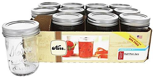 Kerr 0501 regular mason jar half pint, 8oz (pack of 12)