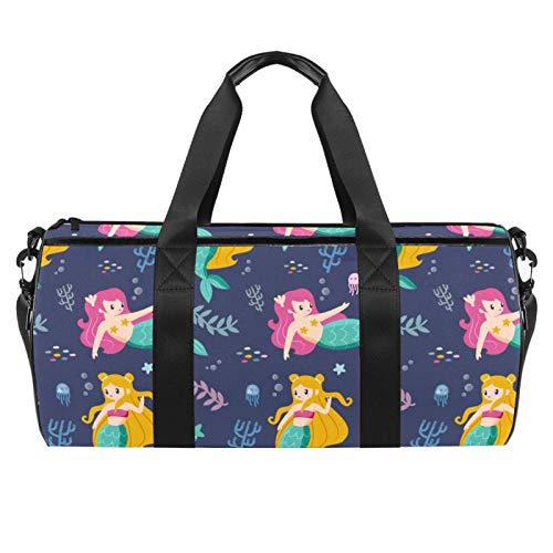 Bolsa de viaje para playa, grande, para gimnasio, ideal para llevar la noche, con estampado de sirenas y algas marinas, con bolsillo seco y húmedo.
