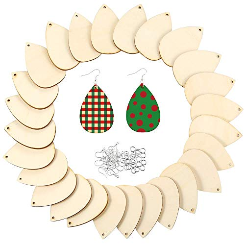 Caydo 50 Pieces Unfinished Wood Teardrop Earring Pendant with 50 Pieces Earring Hooks and 50 Pieces Jump Rings for Jewelry DIY Making